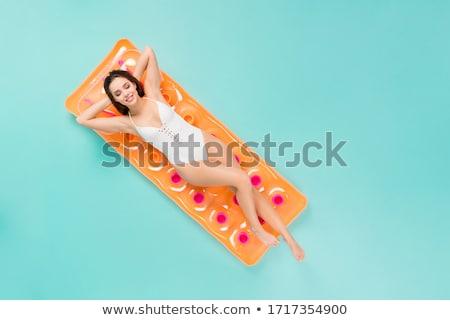 Vacances d'été femme radeau illustration paysage Photo stock © bluering