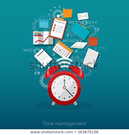 időbeosztás · illusztráció · óra · kezek · szervezet · dolgozik - stock fotó © kali