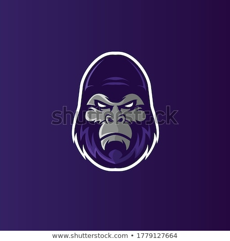 Gorilla fej logoterv sziluett majom sablon Stock fotó © Andrei_