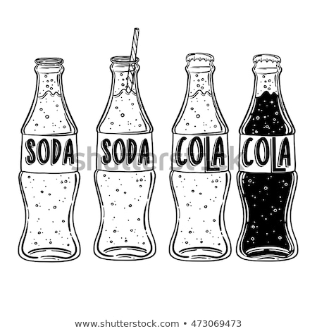 vidrio · botella · potable · paja · boceto · icono - foto stock © rastudio
