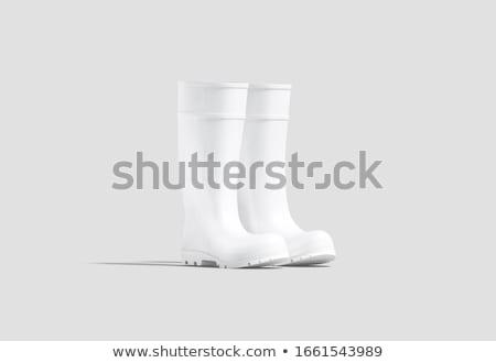 zwarte · geïsoleerd · witte · regen · schoenen - stockfoto © Kidza