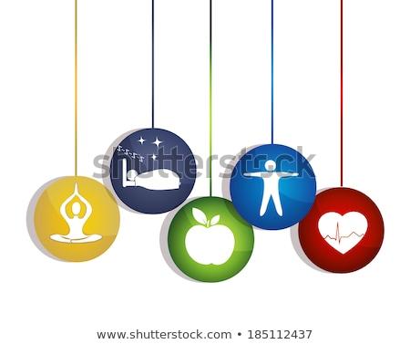 emberi · szív · ritmus · ikon · színes · anatómia - stock fotó © tefi