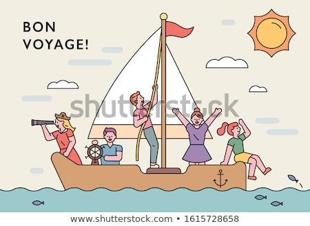 simple vector group of ship with sails stock photo © vertyr