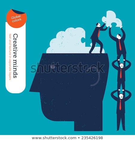 Férfi kirakó darabok együtt agy sziluett fej Stock fotó © adrian_n