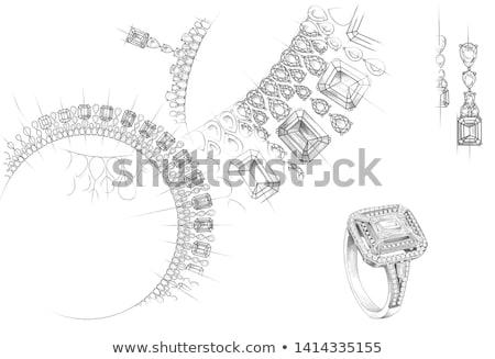 Kolye hat çizim elmas vektör ince Stok fotoğraf © biv