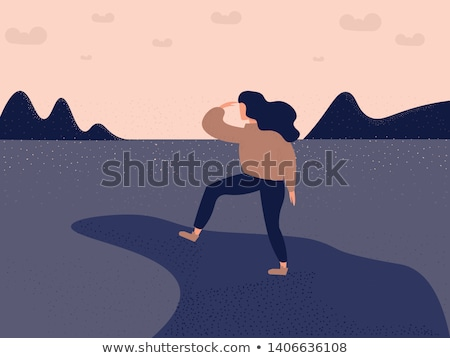silhouette woman on peak mountain stock photo © yongkiet