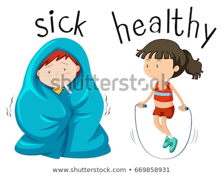 Opposite wordcard for word sick and healthy Stock photo © bluering