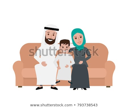 Arab család muszlim emberek szaúdi rajz Stock fotó © NikoDzhi