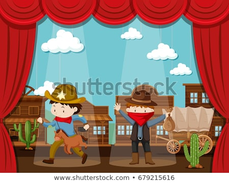 Cowboy town on stage with two kids acting Stock photo © bluering