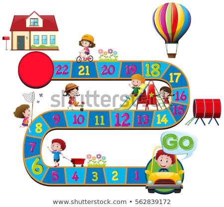 Carta modello bambini giocare slide illustrazione bambini Foto d'archivio © bluering