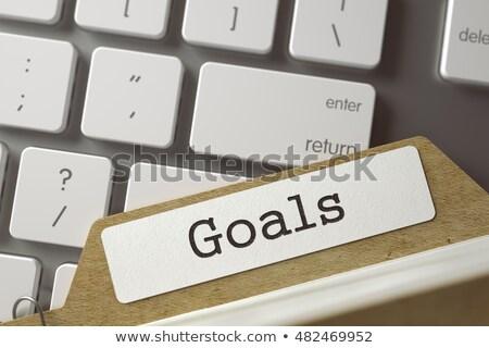 archive bookmarks of card index with business goals 3d illustration stock photo © tashatuvango