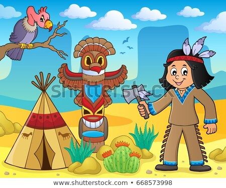 native american boy theme image 3 stock photo © clairev