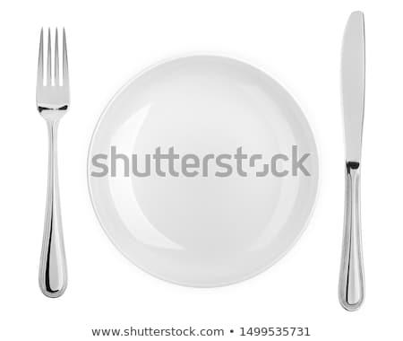 tányér · kés · villa · fehér · út - stock fotó © sidewaysdesign