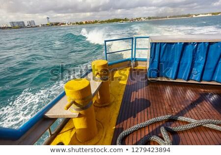 boat bow blue Caribbean sea Cancun to Isla Mujeres Stock photo © lunamarina