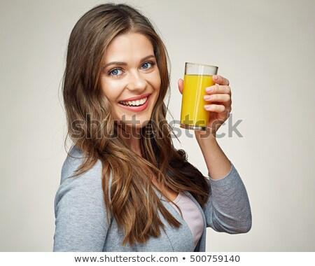 studio · portrait · souriant · fille · jus · d'orange - photo stock © monkey_business