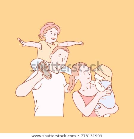 família · feliz · retrato · dedo · smileys · isolado · branco - foto stock © rufous