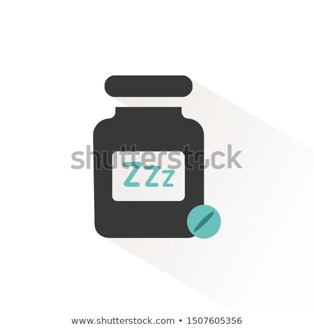 Sleeping pills. Flat icon with beige shade. Pharmacy and medicine vector illustration Stock photo © Imaagio