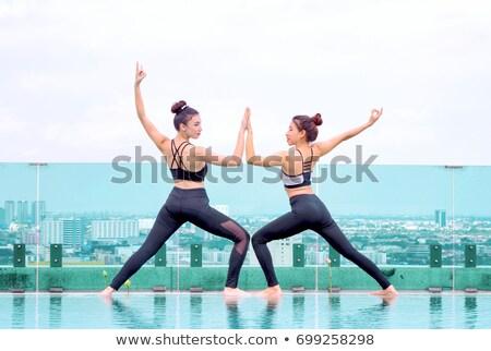 Kettő fiatal nők gimnasztikai szabadtér városi boldog Stock fotó © boggy