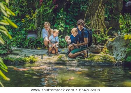 happy family feeding colorful Catfish in tropical pond Stock photo © galitskaya