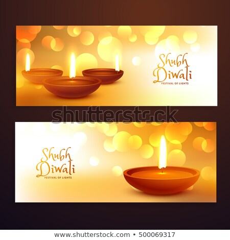 awesome happy diwali festival banner with diya decoration Stock photo © SArts