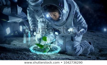 Frau Astronaut Raum Exploration Pop-Art Retro Stock foto © studiostoks
