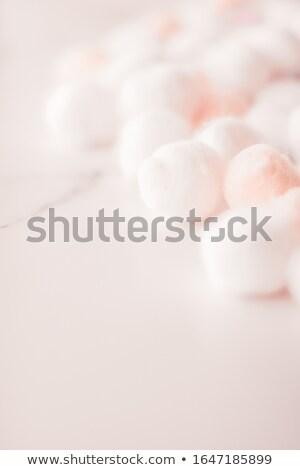 Organic cotton balls background for morning routine, spa cosmeti Stock photo © Anneleven
