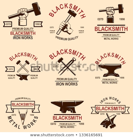 set of blacksmith and iron works emblems design element for logo label sign poster t shirt stock photo © masay256