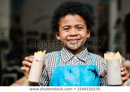 afrikai · iskolás · fiú · portré · aranyos · kicsi · gyermek - stock fotó © pressmaster