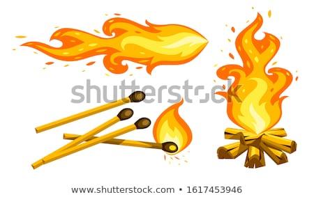 Cartoon hoguera ardor leña partido Foto stock © LoopAll
