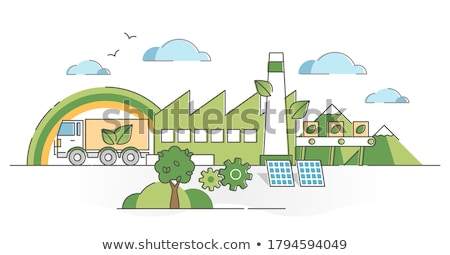 Scene with houses and clean energy Stock photo © bluering