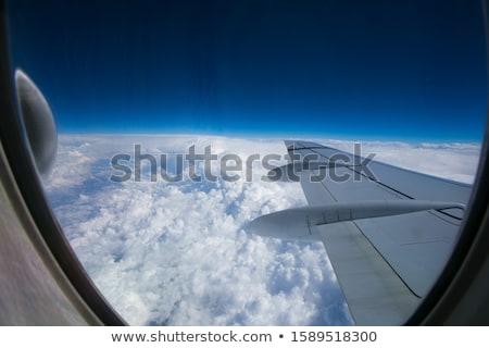 мнение плоскости крыло белый облака небе Сток-фото © artjazz