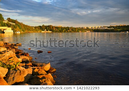 Scene with water dam in the city Stock photo © bluering