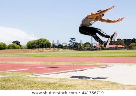 Stockfoto: Lang · springen · horizontaal · afbeelding · actief · man