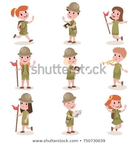 Menino menina escoteiro caminhadas branco ilustração Foto stock © bluering