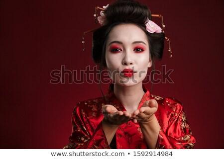 Görüntü Asya geyşa kadın Japon kimono Stok fotoğraf © deandrobot