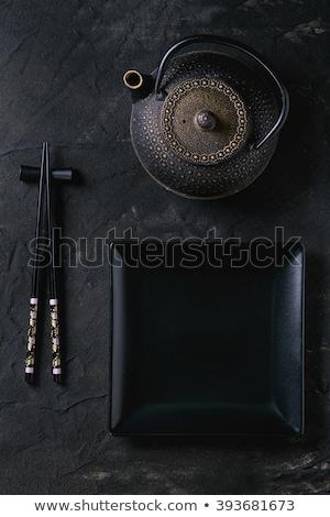 Japon çay boş plaka Çin yemek çubukları taş Stok fotoğraf © karandaev