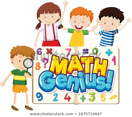 Font design for word math genius with happy children Stock photo © bluering