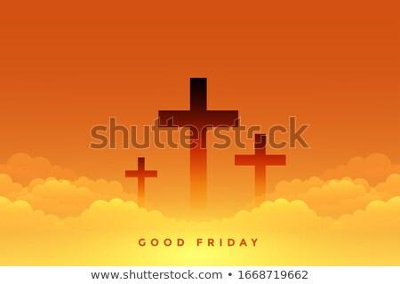 Hemels goede kruis symbolen wolken ontwerp Stockfoto © SArts