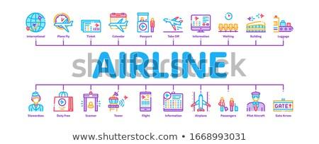 Aerolínea aeropuerto mínimo infografía banner vector Foto stock © pikepicture