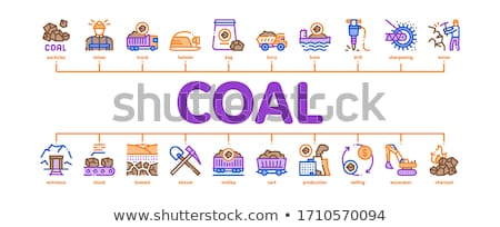 Coal Mining Minimal Infographic Banner Vector Stock photo © pikepicture