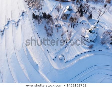 Aerial shot of main view to Barnaul city Stock photo © olira