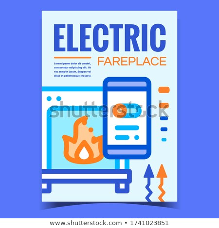 Elektrik şömine yaratıcı promo poster vektör Stok fotoğraf © pikepicture