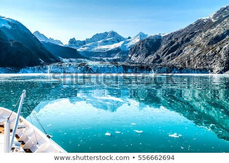 Panoramic view in Glacier Bay from cruise ship cruising towards Johns Hopkins Glacier in summer in A Stock photo © Maridav