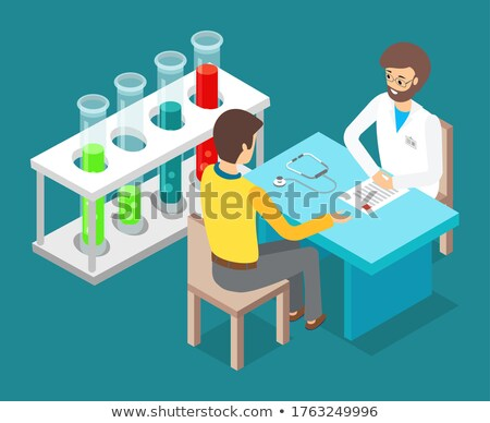 Consultation with doctor, man patient sitting at chair, talking with doctor, isometric test tubes Stock photo © robuart