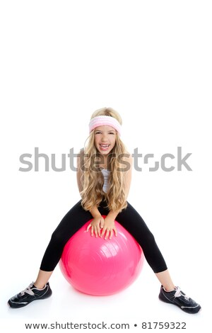 children gym yoga girl with pilates pink ball stock photo © lunamarina