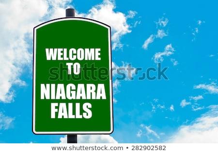 Сток-фото: Ниагарский · водопад · шоссе · знак · зеленый · облаке · улице · знак