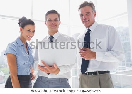 portre · üç · işadamları · bilgisayar · ofis · iş - stok fotoğraf © HASLOO