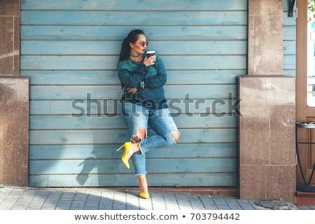 Gyönyörű plus size nő portré fürtös fiatal szőke Stock fotó © zastavkin