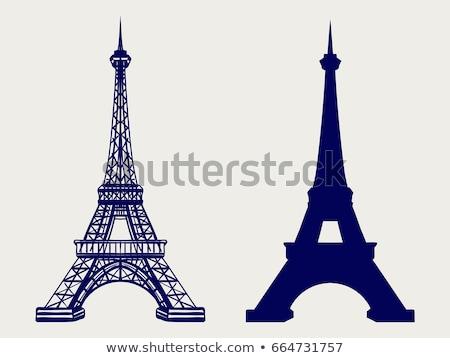 Semboller Paris Eyfel Kulesi sokak ışıklar kafe Stok fotoğraf © dayzeren
