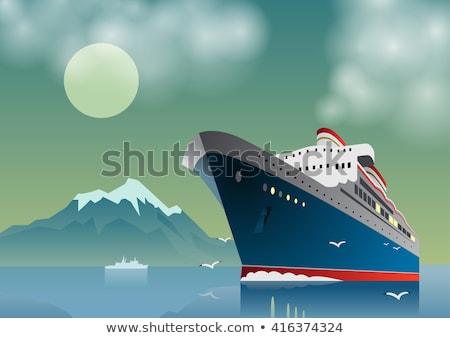 Statek wycieczkowy noc księżyc charakter krajobraz morza Zdjęcia stock © njaj